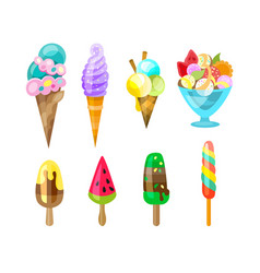 Collection ice cream isolated on vector