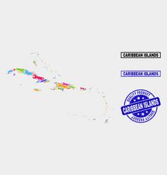 Composition technology caribbean islands map vector