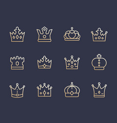 crowns line icons royalty king monarch queen vector image