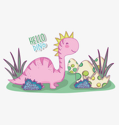 cute saltasaurus with dino egg in the bushes vector image