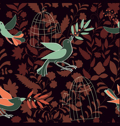 Dark colorful seamless wallpaper with birds olive vector
