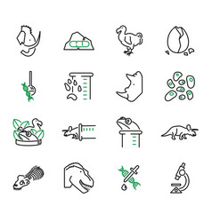 de-extinction biology scientific icons set vector image