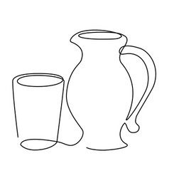 Drink set one line drawing concept vector