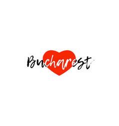 European capital city bucharest love heart text vector