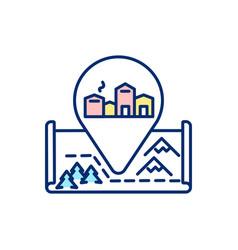 European winter village rgb color icon vector