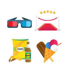 fast food and film cinema icons vector image