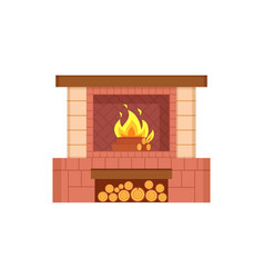 Fireplace with logs in special container icon vector