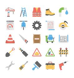 Flat icon set under construction vector