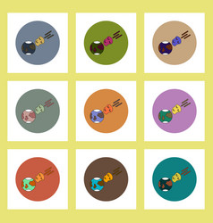 Flat icons set of space meteorite and earth vector