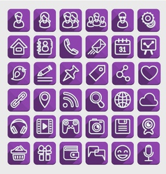 Flat Icons Social Media Purple Set vector image