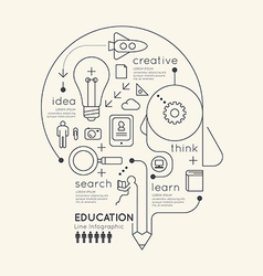 Flat linear infographic education outline pencil vector