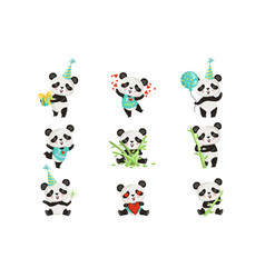 flat set funny little panda in various vector image