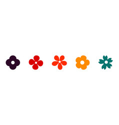 flower icons set flowers in flat design early vector image