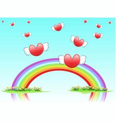flying hearts on rainbow vector image