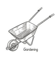 Garden wheelbarrow garden tools vector