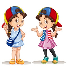 Girl in two different costumes vector