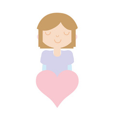 girl with hairstyle deasign and heart icon vector image
