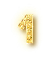 Gold glitter alphabet numbers 1 with shadow vector