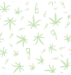 green cannabis leaves and cbd oil glass vector image