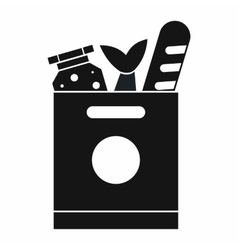 Grocery bag with food icon simple style vector image