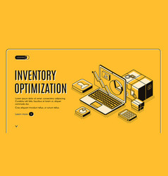 Inventory optimization isometric landing page vector