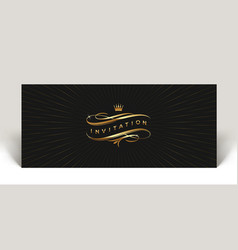invitation with gold flourishes elements vector image