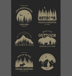 journey into wild set emblem t-shirt vector image