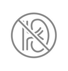 Kidney with prohibition sign line icon amputation vector