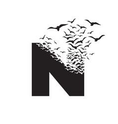 Letter n with effect destruction dispersion vector