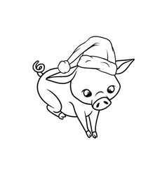 little piggy sitting while wearing a santas hat vector image