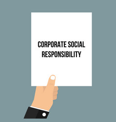 Man showing paper corporate social responsibility vector