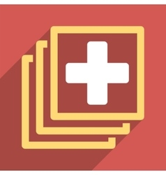Medical docs flat square icon with long shadow vector