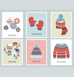 merry christmas cards with patterned vector image