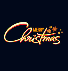 merry christmas handwritten lettering shining vector image