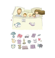 Mom dad and children sweet dreams good night vector