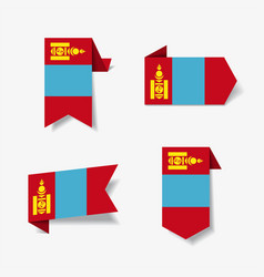Mongolian flag stickers and labels vector