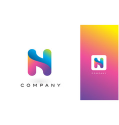 n logo letter with rainbow vibrant beautiful vector image