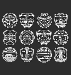 nautical anchor helm and rope isolated icons vector image