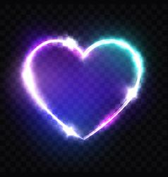 night club neon heart sign retro light signboard vector image