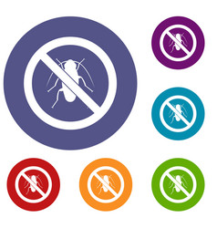 no cockroach sign icons set vector image