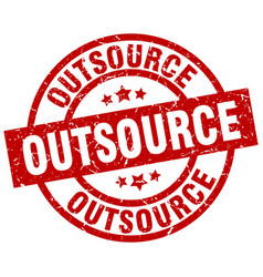 Outsource round red grunge stamp vector