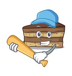 Playing baseball tiramisu character cartoon style vector