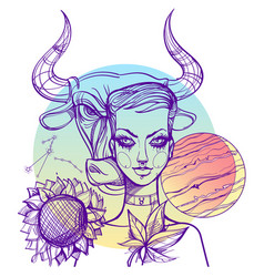 portrait of the girl symbolizes the zodiac sign vector image