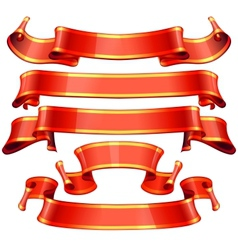 Realistic Red Glossy ribbons with a yellow stripe vector image