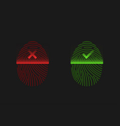 red and green fingerprints vector image