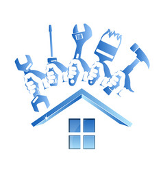 Repairing a house symbol with a tool vector
