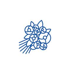 rose bouquet line icon concept rose bouquet flat vector image