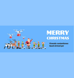 santa claus elf ride electric scooter drone vector image