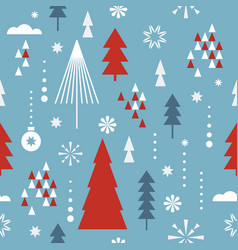 seamless christmas pattern stylized trees vector image