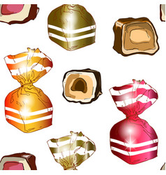 seamless pattern of bright candies in wrappers on vector image